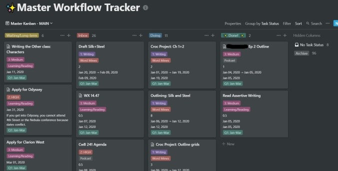 notion - main kanban view